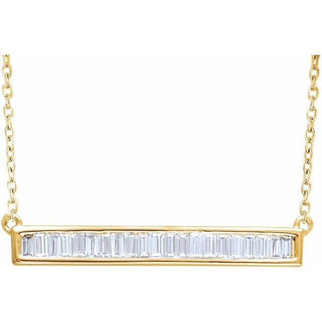 14K Yellow 1/2 CTW Diamond Baguette Bar 16-18