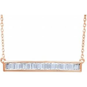 "14K Rose 1/2 CTW Diamond Baguette Bar 16-18"" Necklace"