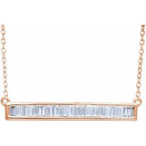 "14K Rose 1/2 CTW Diamond Baguette Bar 16-18"" Necklace"