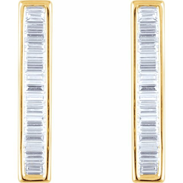 14K Yellow 1/2 CTW Natural Diamond Baguette Bar Earrings