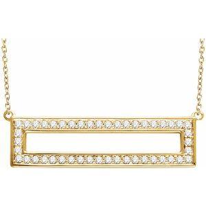 "14K Yellow 3/8 CTW Diamond Rectangle 16-18"" Necklace"