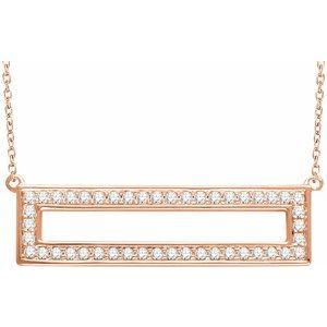 "14K Rose 3/8 CTW Diamond Rectangle 16-18"" Necklace"