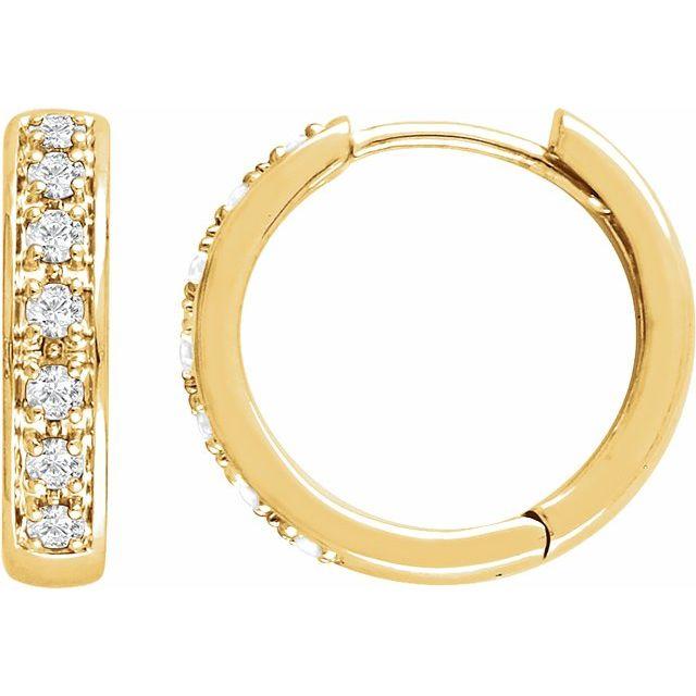 14K Yellow 1/3 CTW Diamond Huggie Earrings