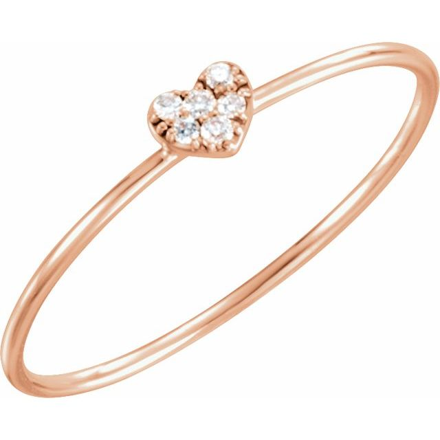 14K Rose .03 CTW Diamond Petite Heart Ring