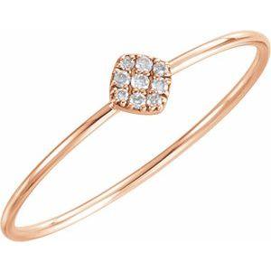 14K Rose 1/8 CTW Diamond Petite Square Ring