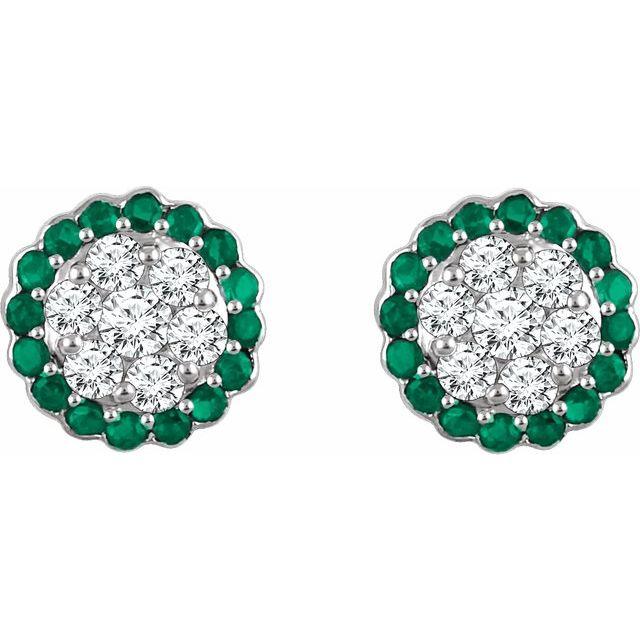 14K White Natural Emerald & 5/8 CTW Natural Diamond Earrings