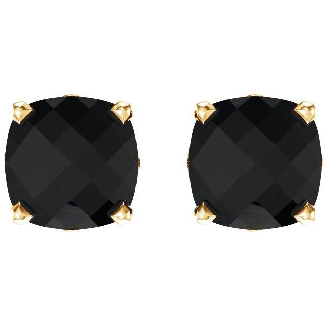 14K Yellow 6x6 mm Cushion Onyx Earrings