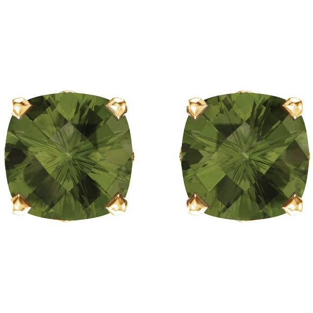14K Yellow 6x6 mm Cushion Peridot Earrings