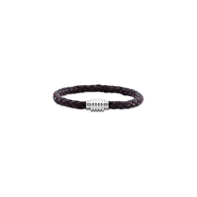 Stainless Steel & Dark Brown Braided Leather 9