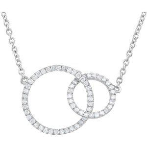 "14K White 1/3 CTW Diamond Circle 18"" Necklace"