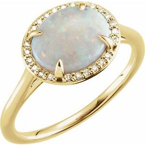 14K Yellow Opal & .06 CTW Diamond Ring