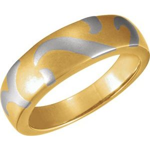 18K Yellow & Platinum 6.25 mm Inlaid Design Band