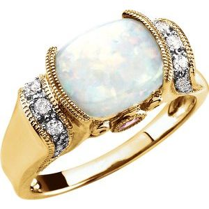 14K Yellow Opal, Pink Tourmaline & 1/6 CTW Diamond Ring