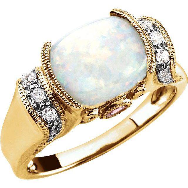 14K Yellow Opal, Pink Tourmaline & 1/6 CTW Diamond Ring