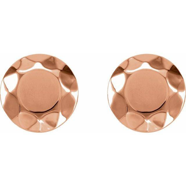 14K Rose Faceted Design Circle Earrings