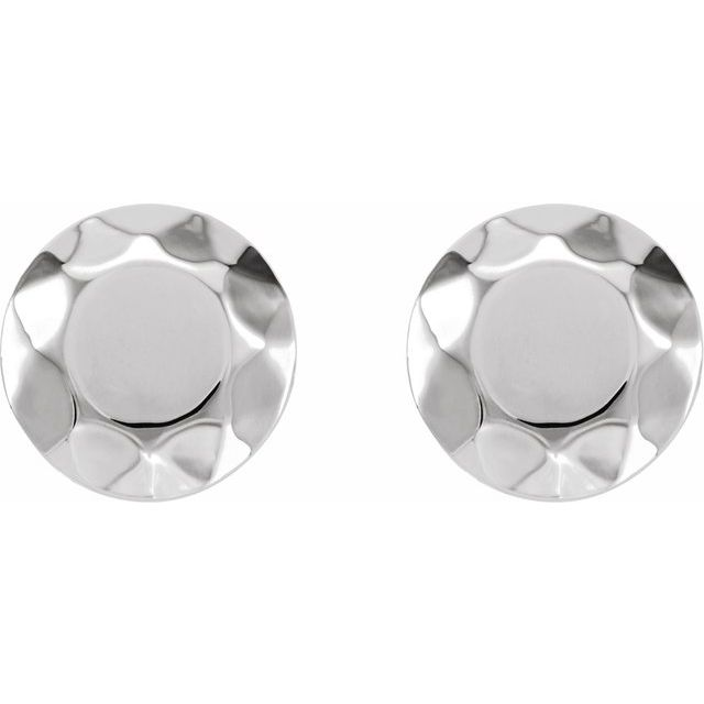 14K White Faceted Design Circle Earrings