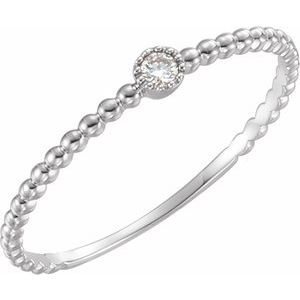 14K White .03 CTW Diamond Beaded Bezel-Set Ring Size 7