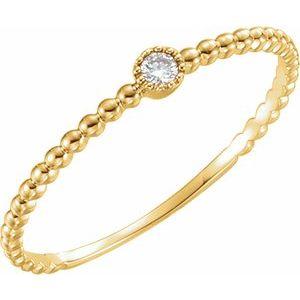 14K Yellow .03 CTW Diamond Beaded Bezel-Set Ring Size 7