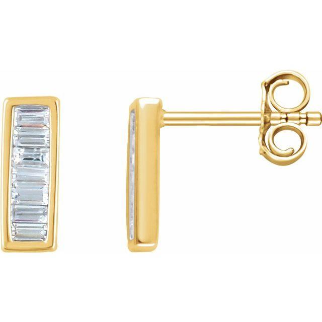 14K Yellow 1/3 CTW Natural Diamond Baguette Bar Earrings