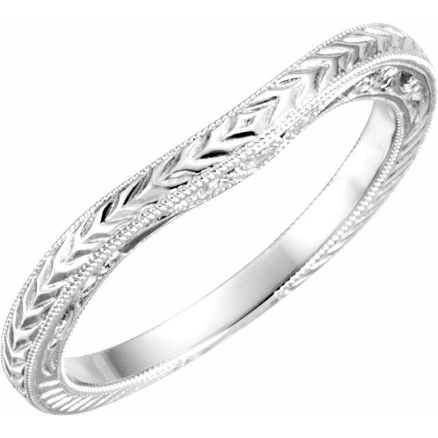 14K White .03 CTW Diamond Design-Engraved Band
