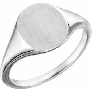 14K White 11x9 mm Oval Signet Ring