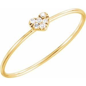 14K Yellow .03 CTW Diamond Petite Heart Ring