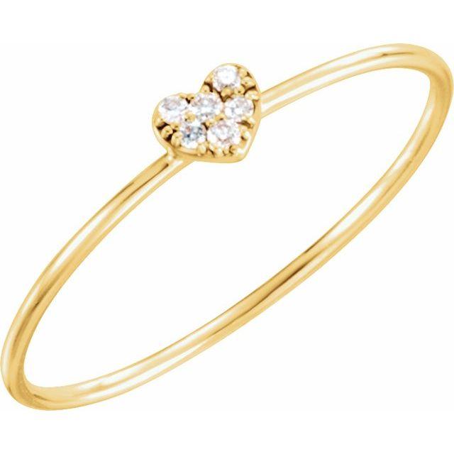 14K Yellow .03 CTW Natural Diamond Petite Heart Cluster Ring