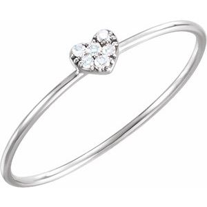 14K White .03 CTW Diamond Petite Heart Ring