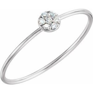 14K White .04 CTW Diamond Petite Circle Ring