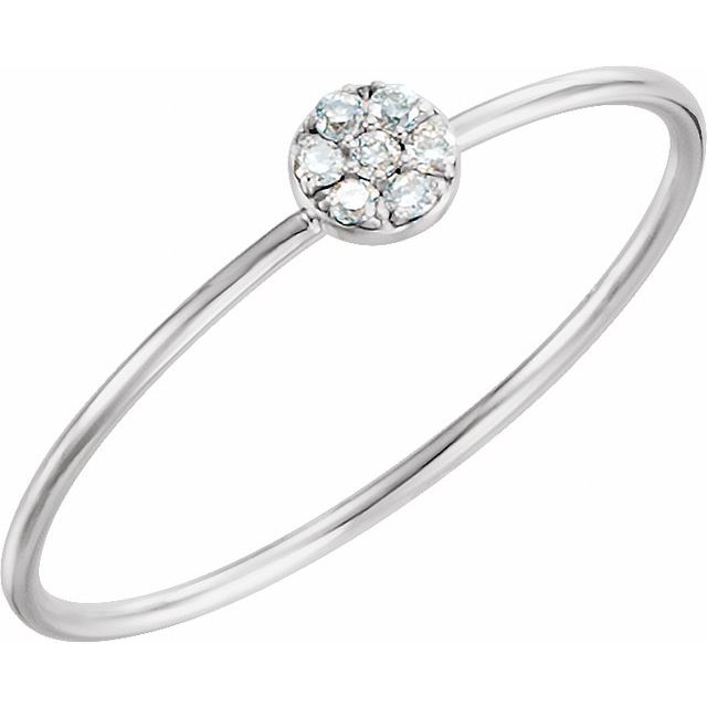 14K White .04 CTW Diamond Petite Circle Ring