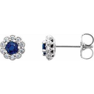 14K White 3.2 mm Round Blue Sapphire & 1/6 CTW Diamond Earrings