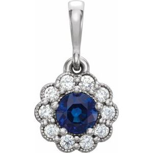 14K White Blue Sapphire & 1/8 CTW Diamond Pendant