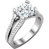 Accented Euro Shank Engagement Ring or Band