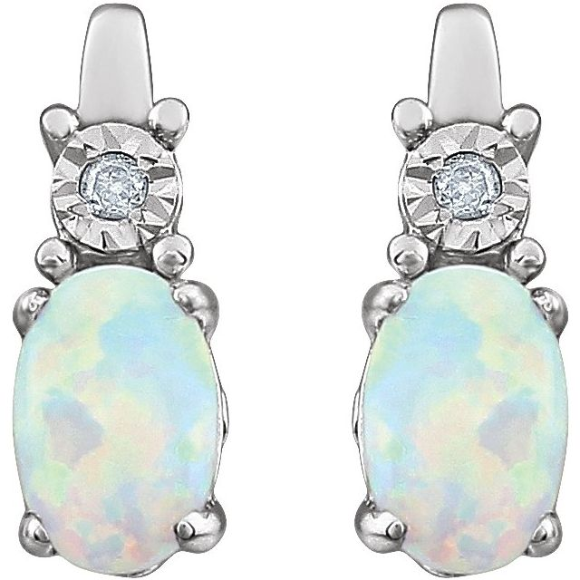 14K White Created Opal & .02 CTW Diamond Earrings