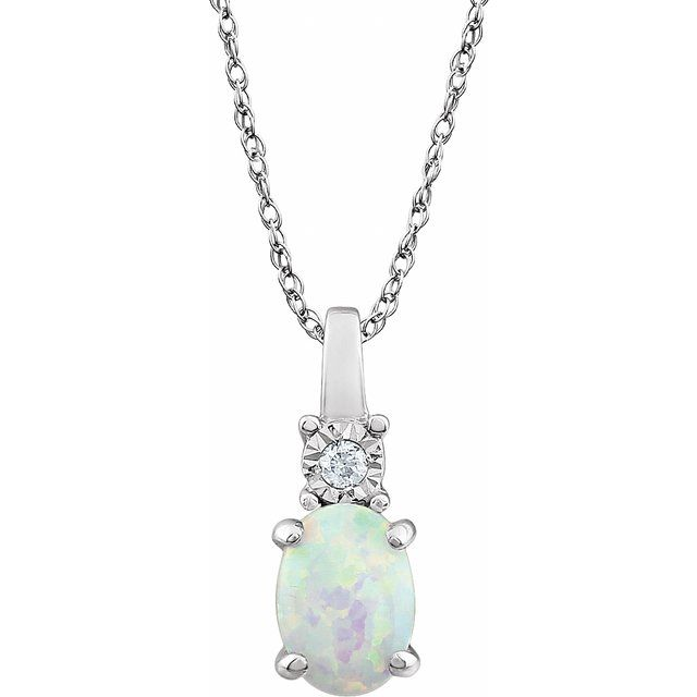 14K White Created Opal & .02 CTW Diamond 18