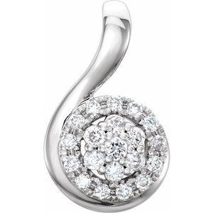 14K White 1/10 CTW Diamond Pendant