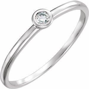 14K White .06 CTW Diamond Bezel-Set Solitaire Ring