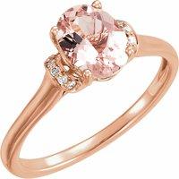 14K Rose Morganite & .05 CTW Diamond Ring