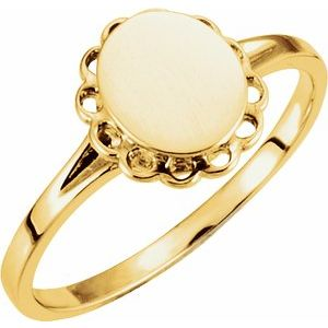14K Yellow 8x6.7 mm Oval Signet Ring