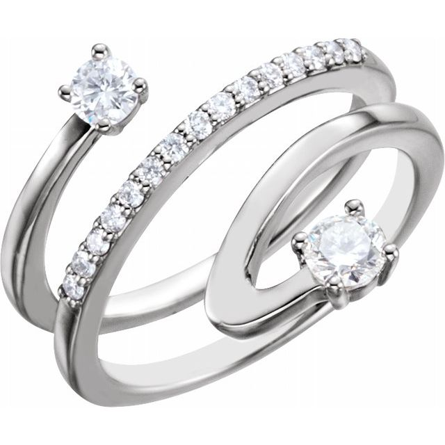 14K White 1/3 CTW Diamond Freeform Ring