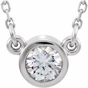 "Sterling Silver 4 mm Stuller Moissanite Solitaire 18"" Necklace"