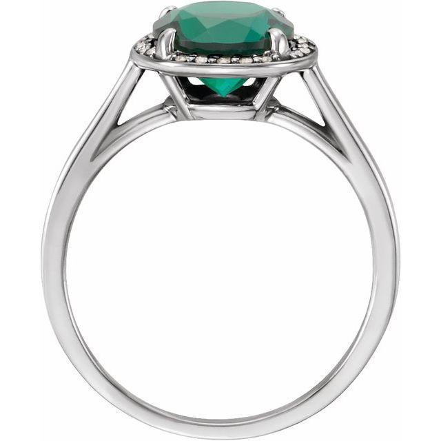 14K White Lab-Grown Emerald & .05 CTW Diamond Ring