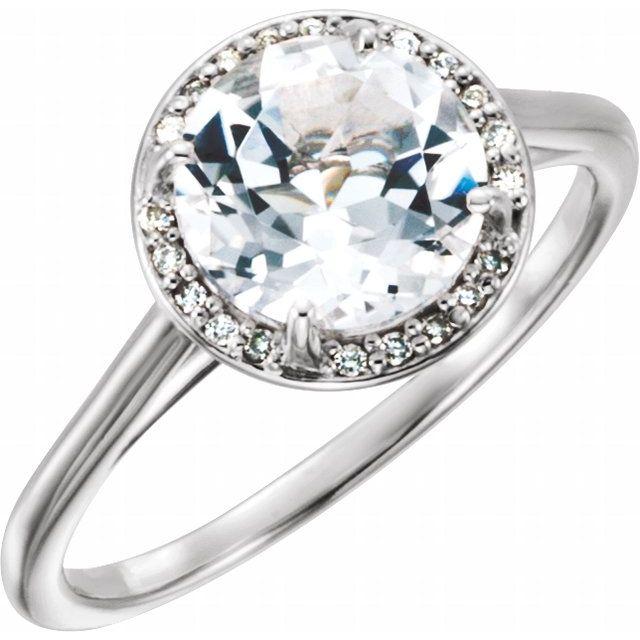 14K White Topaz & .05CTW Diamond Ring