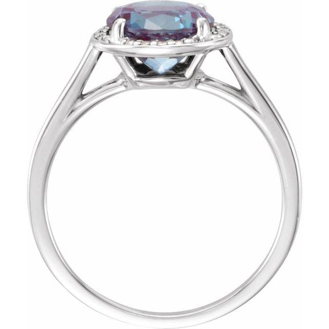 14K White Chatham® Lab-Created Alexandrite & .05 CTW Diamond Ring