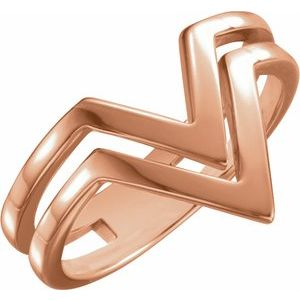 "14K Rose Double Row ""V"" Ring"