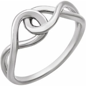 14K White Infinity-Inspired Knot Design Ring