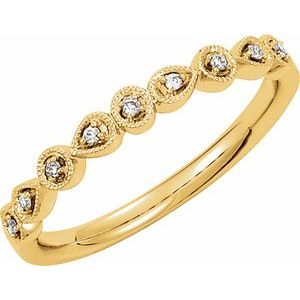 14K Yellow .04 CTW Diamond Ring Size 7