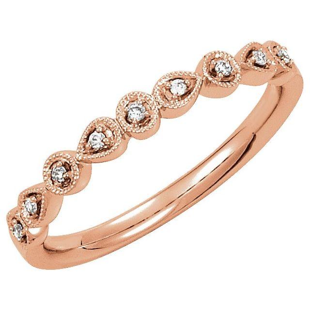 14K Rose .04 CTW Diamond Ring Size 7