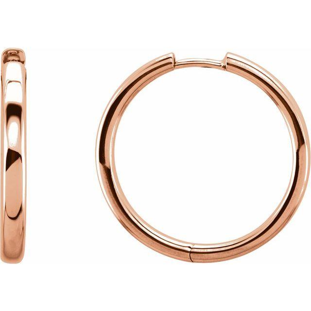 14K Rose 29 mm Hinged Hoop Earrings