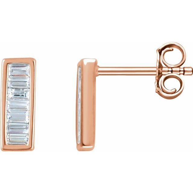 14K Rose 1/3 CTW Natural Diamond Baguette Bar Earrings